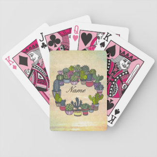 Personalized Cactus Wreath Bicycle Playing Cards