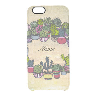 Personalized Cactus Wreath Clear iPhone 6/6S Case