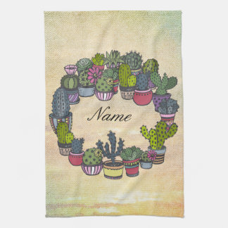 Personalized Cactus Wreath Hand Towel