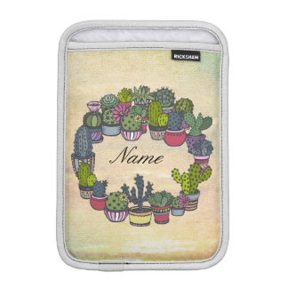 Personalized Cactus Wreath iPad Mini Sleeve