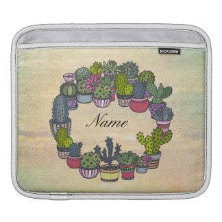 Personalized Cactus Wreath iPad Sleeve