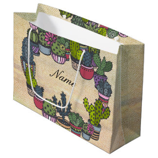 Personalized Cactus Wreath Large Gift Bag