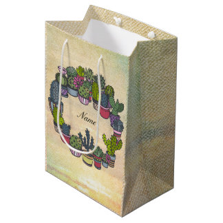 Personalized Cactus Wreath Medium Gift Bag