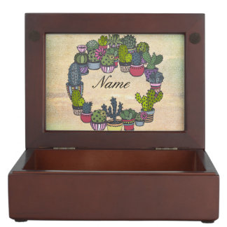 Personalized Cactus Wreath Memory Box