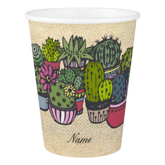 Personalized Cactus Wreath Paper Cup