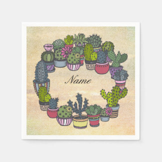 Personalized Cactus Wreath Paper Napkin
