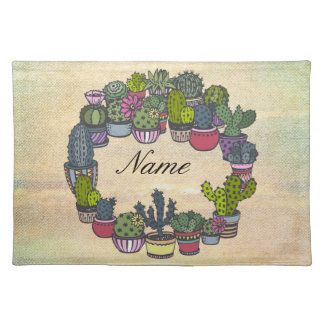 Personalized Cactus Wreath Placemat