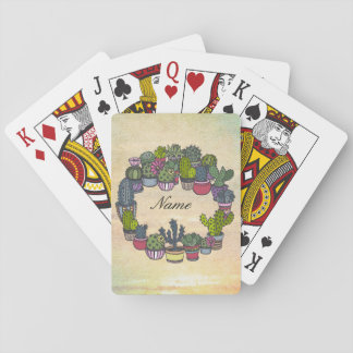 Personalized Cactus Wreath Playing Cards