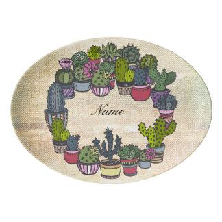 Personalized Cactus Wreath Porcelain Serving Platter