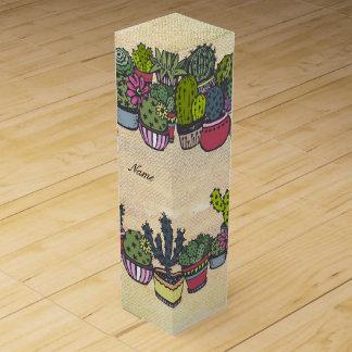 Personalized Cactus Wreath Wine Gift Box