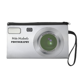 Personalized camera bag wristlet clutches