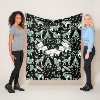 Personalized Camo Bear Deer Wolf Forest Pattern Fleece Blanket