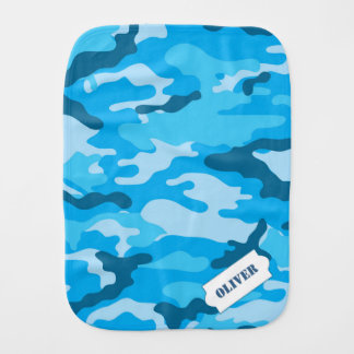 Personalized Camo burp cloth, blue camouflage Burp Cloths