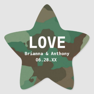 Personalized Camouflage Star Love Wedding Sticker