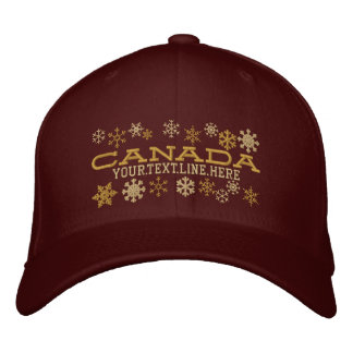 Personalized Canadian Winter Snowflakes Embroidered Baseball Cap