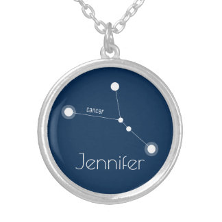 Personalized Cancer Zodiac Constellation Silver Plated Necklace