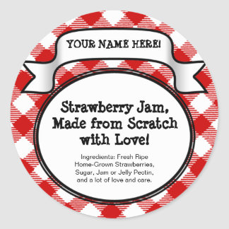 Personalized Canning Jar Lid Label Red Gingham Sticker