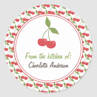 Personalized Canning Labels - Cute Cherries Round Sticker