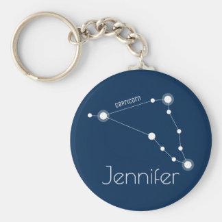 Personalized Capricorn Zodiac Constellation Key Ring