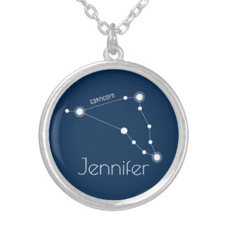 Personalized Capricorn Zodiac Constellation Silver Plated Necklace