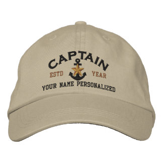 Personalized Captain Nautical Star Anchor Embroidered Hat
