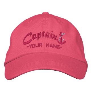 Personalized Captain Rope Anchor Name Fuchsia Embroidered Hat