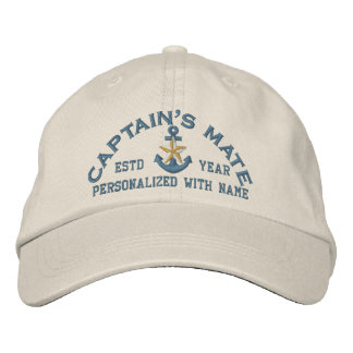 Personalized Captain's Mate Coastal Star Anchor Embroidered Hat