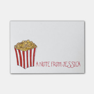 Personalized Caramel Pop Corn Popcorn Post Its Post-it Notes