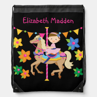 Personalized Carousel Horse Drawstring  Bag