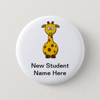 Personalized Cartoon Giraffe for New Students 6 Cm Round Badge
