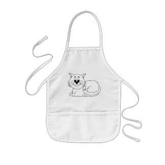 Personalized Cartoon Kitty Cat Kids Apron