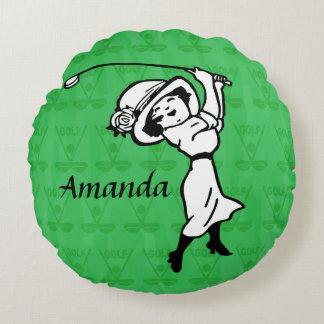 Personalized cartoon Lady golfer Round Cushion