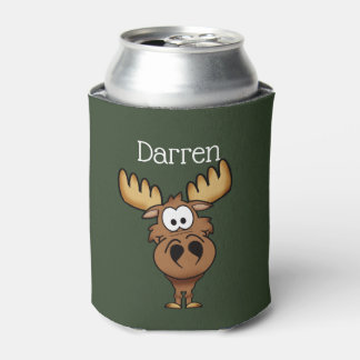 Personalized Cartoon Moose Can Cooler