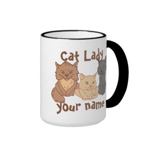 Personalized Cat Lady Coffee Mugs