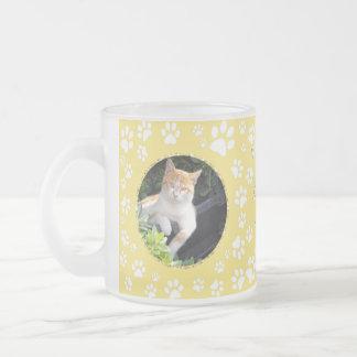 Personalized Cat Memorial Mug Paw Prints Yellow