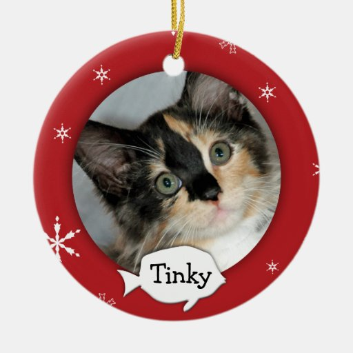 Personalized Cat/Pet Photo Holiday Christmas Ornaments