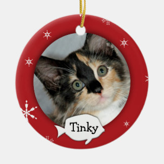 Personalized Cat/Pet Photo Holiday Round Ceramic Decoration