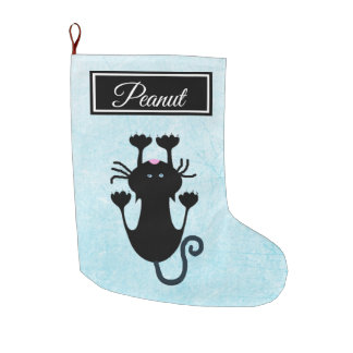 Personalized Cat's Name Striped Christmas Stocking