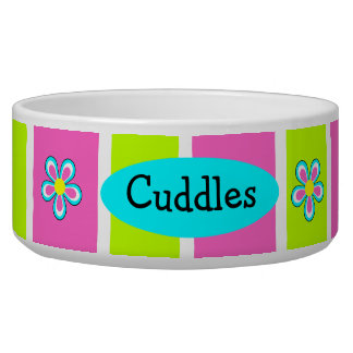 Personalized Ceramic Girl Dog Bowl