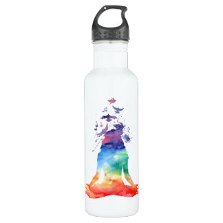 PERSONALIZED CHAKRA LOTUS YOGA WATER BOTTLE
