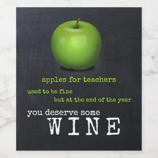 Personalized Chalkboard Apple Teacher Wine Label