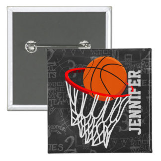 Personalized Chalkboard Basketball and Hoop 15 Cm Square Badge