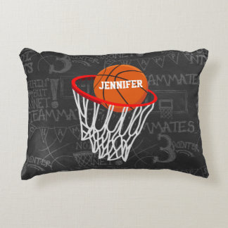 Personalized Chalkboard Basketball and Hoop Decorative Cushion