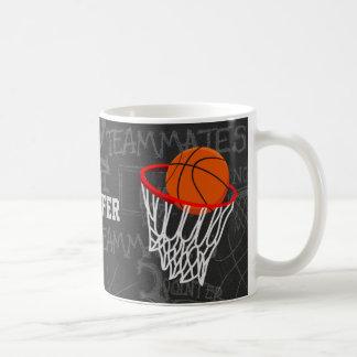 Personalized Chalkboard Basketball and Hoop Basic White Mug
