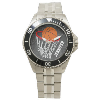 Personalized Chalkboard Basketball and Hoop Watch
