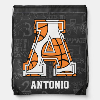 Personalized Chalkboard Basketball Letter A Drawstring Bag