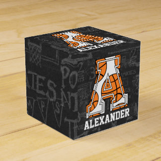 Personalized Chalkboard Basketball Letter A Favour Box
