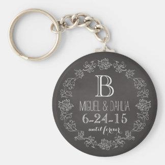 Personalized Chalkboard Monogram Wedding Date Basic Round Button Key Ring
