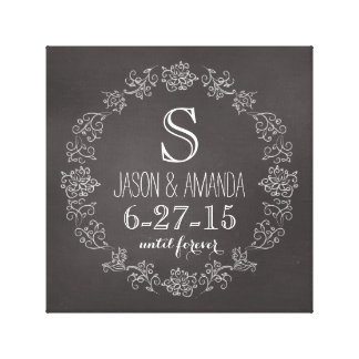 Personalized Chalkboard Monogram Wedding Date Canvas Prints