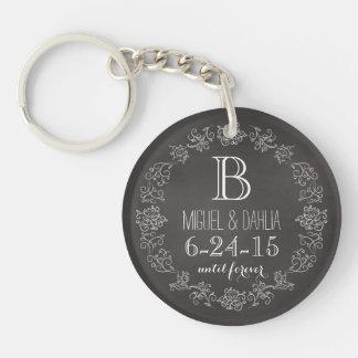 Personalized Chalkboard Monogram Wedding Date Double-Sided Round Acrylic Key Ring